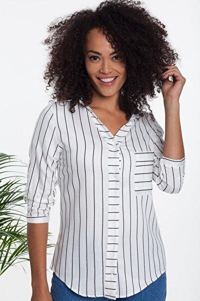 Mossta Kadın Beyaz Çizgili Gömlek