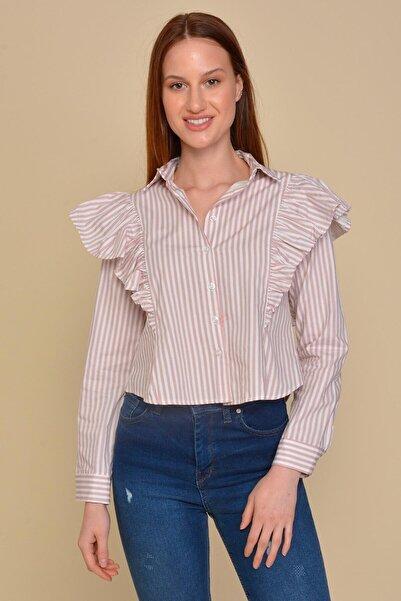 Mossta Kadın Pembe Fırfır Detaylı Gömlek