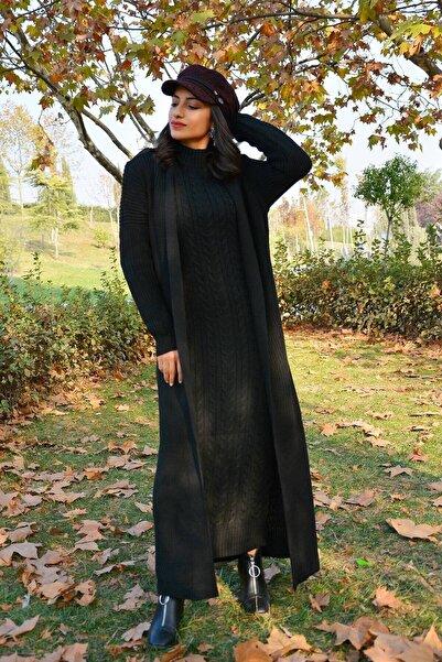 Mossta Kadın Siyah Triko Elbise Hırka 2'li Takım