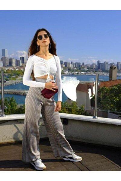 BSL Kadın Gri Triko Pantolon