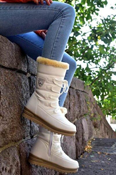 Twingo Içi Kürklü Kadın Beyaz Kar Botu