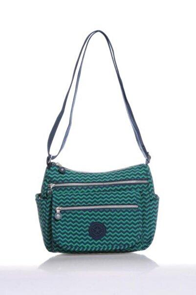 SMART BAGS Kadın Lacivert Yeşil Çok Gözlü Çapraz Askılı Omuz Çantası