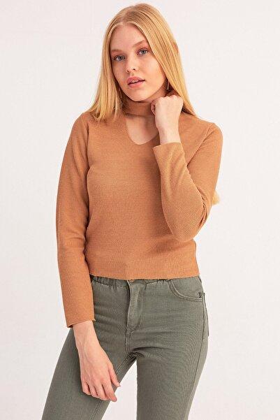 Fulla Moda Kadın Kahverengi Pencere Detaylı Triko Bluz