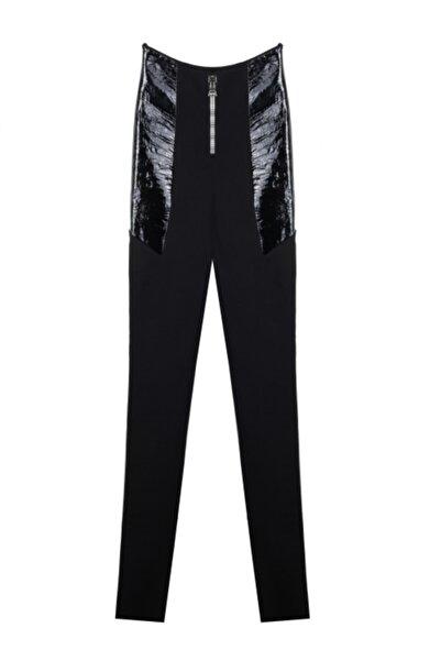 CEREN OCAK Kadın Siyah Deri Detaylı Pantolon