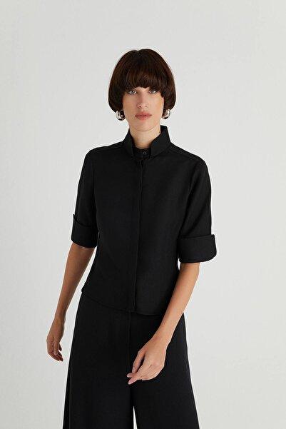 rue. Geniş Kesim Siyah Gömlek