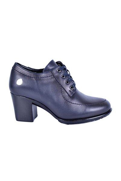Mammamia Lacivert Kadın Topuklu Deri Ayakkabı 740