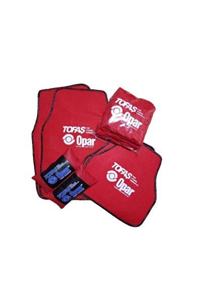Tofaş Sekutunıng Opar Kırmızı Penye Servis Kılıf,kırmızı Deri Yastık Ve 5 Parça Halı Paspas