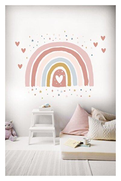 Sticker Sepetim Soft Renkli Puantiye Yıldız Kalpler Ve Gökkuşağı Çocuk Odası Duvar Sticker