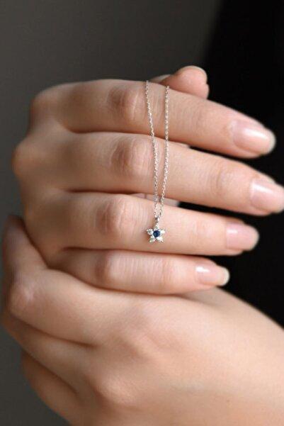 Papatya Silver 925 Ayar Gümüş Rodyum Kaplama Minimal Lacivert Taşlı Çiçek Kolye