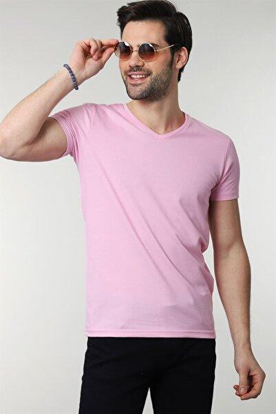Tudors V Yaka Düz Pembe Oxford Erkek T-shirt