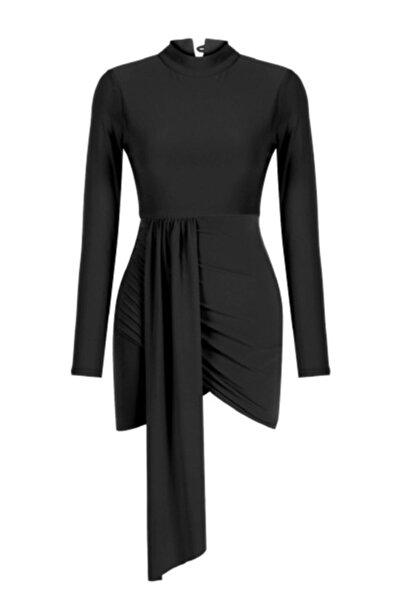 Whenever Company Drapeli Uzun Kollu Uzun Kuşaklı Siyah Abiye Elbise