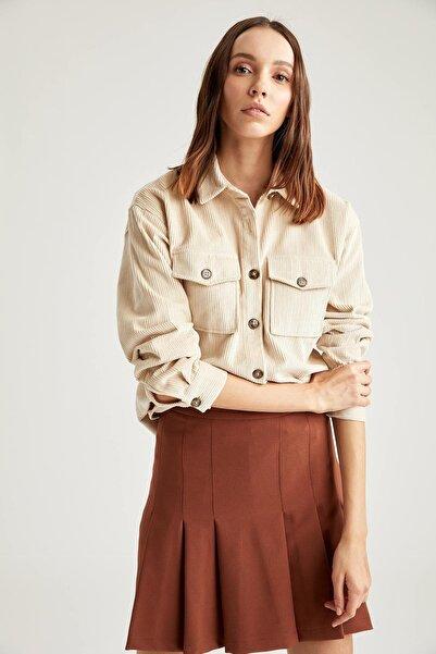 DeFacto Kadın Ekru Retro Cepli Oversize Gömlek Ceket