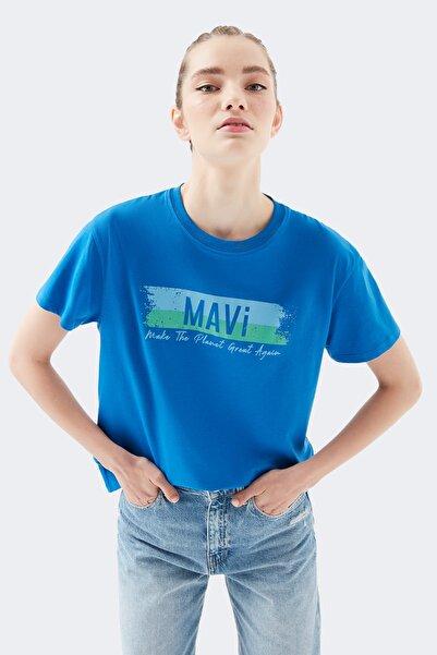 Mavi Baskılı Mavi Tişört