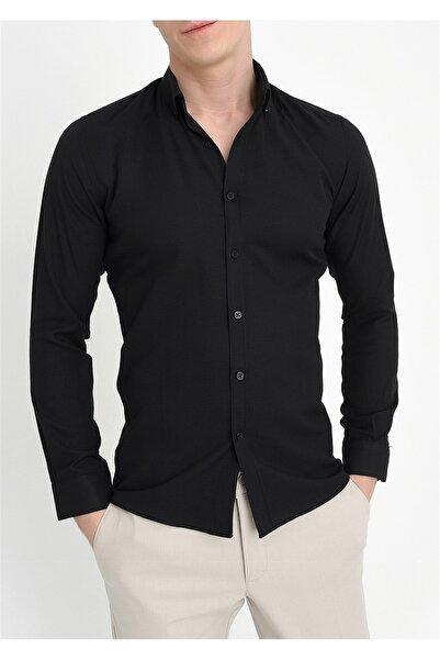 Efor GK 560 Slim Fit Siyah Klasik Gömlek
