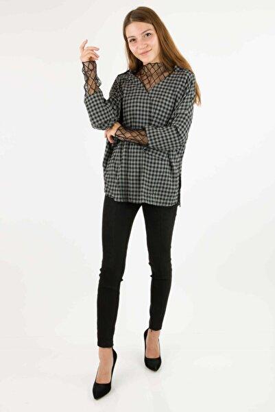AYHAN Kadın Siyah 50315 Kareli Gömlek