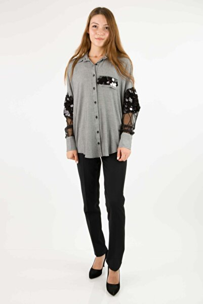 AYHAN Kadın Siyah Beyaz 50408 Desenli Gömlek