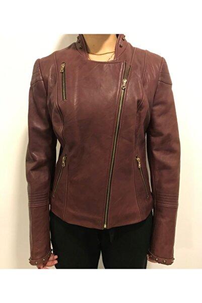 ASUS Kadın Mor Mat Deri Ceket
