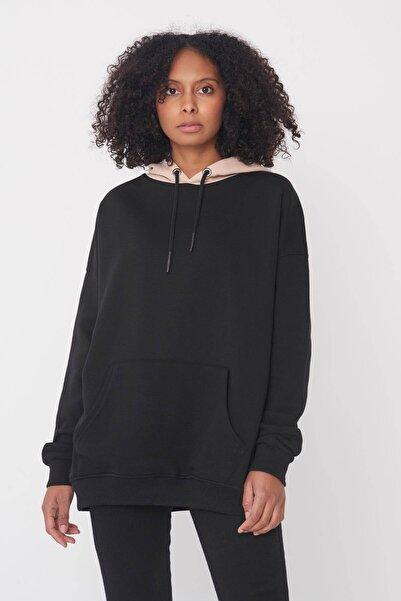 Addax Kadın Siyah-Bej Kapüşonlu Bol Kesim Sweatshirt S8623 - Z3 Adx-0000020560