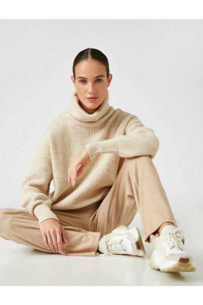 Koton Kadın Kahverengi Pamuklu Düz Renk Pantolon