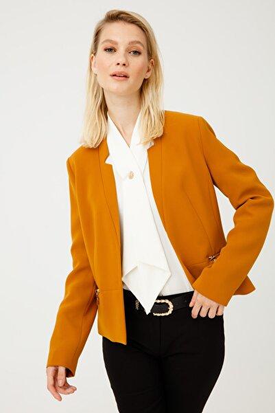 Ekol Kadın Sarı Fermuar Cepli Ceket