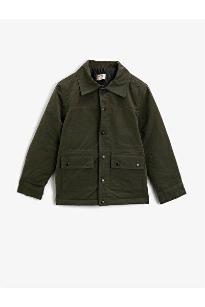Koton Erkek Çocuk Yeşil Dügmeli Cepli Gömlek Yaka Kaban