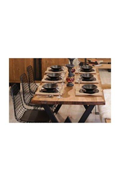 KZNGROUP Kahverengi Masif Ağaç Yemek Masası 85 cm 185 cm