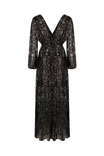 Nocturne Kadın Siyah Kruvaze Payetli Elbise