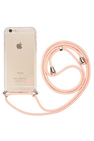 Fibaks Apple Iphone 6/6s  İpli Boyun Askılı Köşe Korumalı Şeffaf Kapak Kılıf