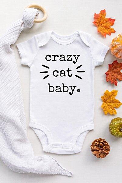 Happy Onesie Co Unisex Bebek Beyaz Crazy Cat Baby Çıtçıtlı Body