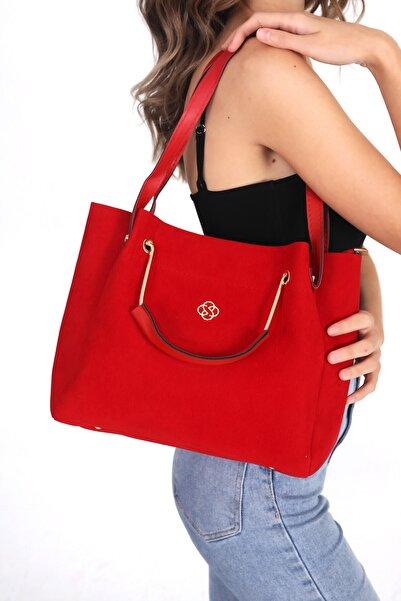 Top All BAG Kırmızı Kadın Süet El Ve Omuz Çanta