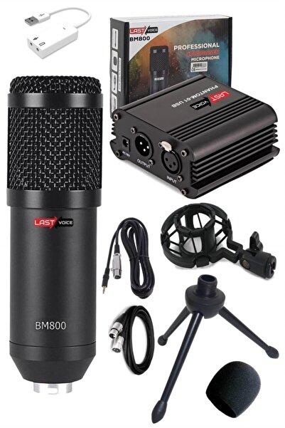 Lastvoice Bm800 Full Black Mikrofon + Phantom Power Ses Kartı Paketi