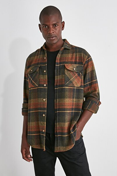 TRENDYOL MAN Kiremit Erkek Çift Cep Kapaklı Regular Fit Gömlek TMNAW21GO0031