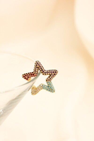İmola Design Kadın Zirkon Taşlı Yıldız Renkli EarCuff Kıkırdak Küpe