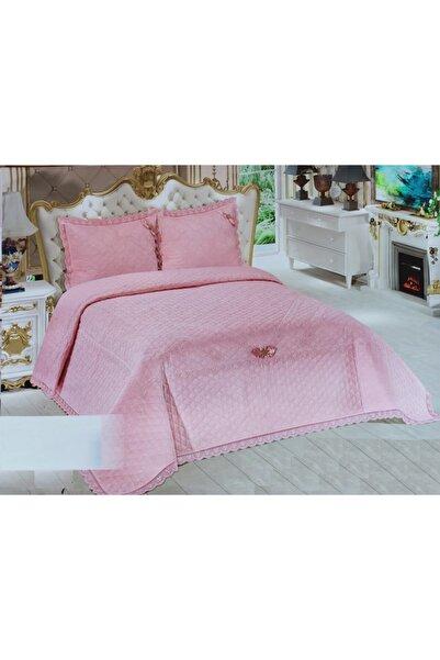 Bella Home Pembe Çift Kişilik Abiye Yatak Örtüsü Güpürlü Dantelli 250*260cm
