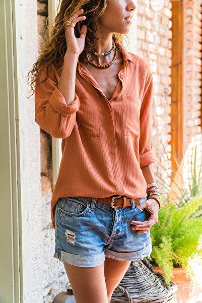 Güneşkızı Kadın Kiremit Armürlü Çift Cep Gömlek GK-AYN1222