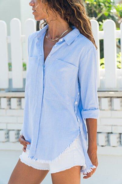 Güneşkızı Kadın Mavi Yanı Düğmeli Eteği Püsküllü Gömlek GK-AYN1666