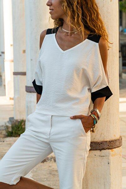 Güneşkızı Kadın Ekru Keten Omuz Dekolteli Salaş Bluz GK-BST2923