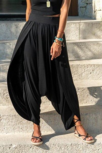 Kadın Siyah Yırtmaçlı Salaş Şalvar Pantolon GK-LD313