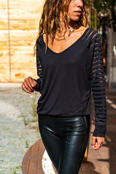 Güneşkızı Kadın Siyah Kolu Tül Detaylı Bluz GK-CCKSAN105