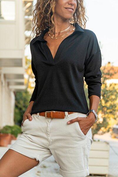 Güneşkızı Kadın Siyah Polo Yaka Keten Bluz GK-BST2940