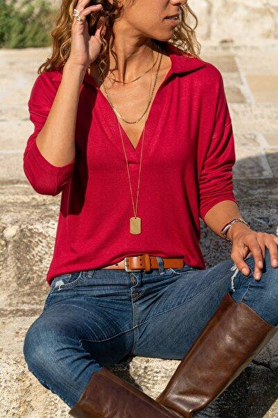 Güneşkızı Kadın Bordo Polo Yaka Bluz Gk-BSTM2749