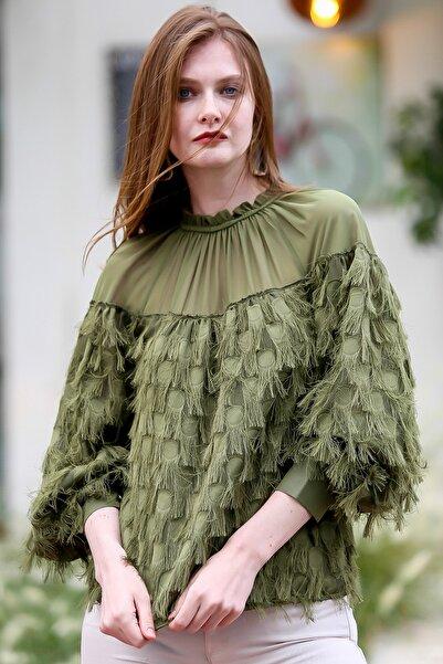 Chiccy Kadın Haki Retro Robası Şifon Kendinden Saçaklı Dev Manşetli Bluz M10010200BL95834