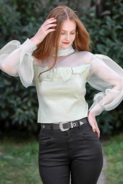 Chiccy Kadın Su Yeşili Vintage Fırfır Yakalı Robası Ve Kolları Organze Triko Bluz M10010200BL95841