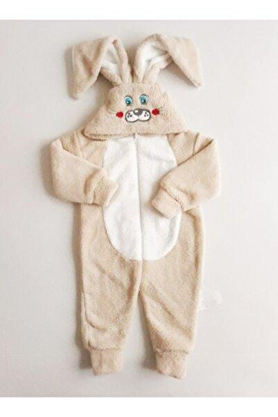 Baby Corner Kız/erkek Bebek Peluş Tulum Tavşanlı Ekru