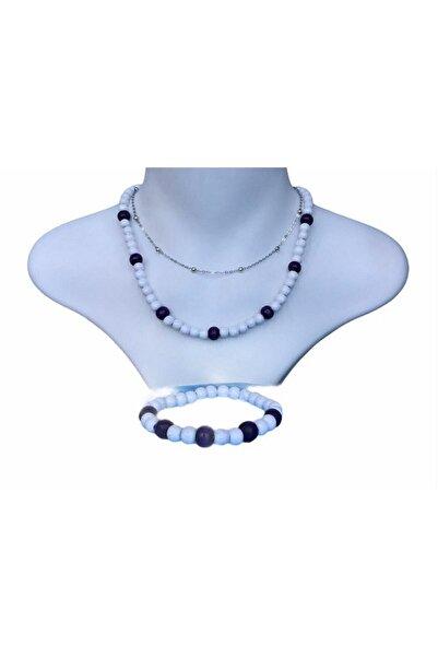 Selin 3 Lü Set - Rodyum Gümüş Kaplama Top Zinzirli + Ahşap Kolye Ve Bileklik ( Bayaza - Mor )