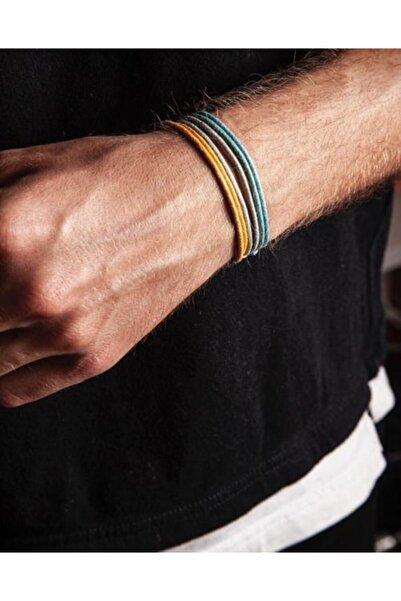 Daphne Store Kalın Ip-mavi,sarı,gri 3lü Bileklik