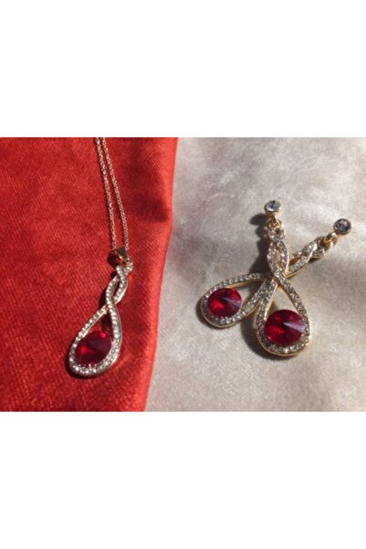 FEELİNG Kadın Derin Kırmızı Kristal Sonsuzluk Figürlü Taşlı Kolye Küpe Set