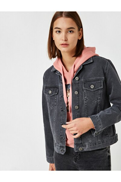 Koton Kadın Gri  Pamuk Kot Ceket
