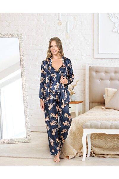 DOREA Kadın Lacivert Üçlü Saten Pijama Takımı Ang0029