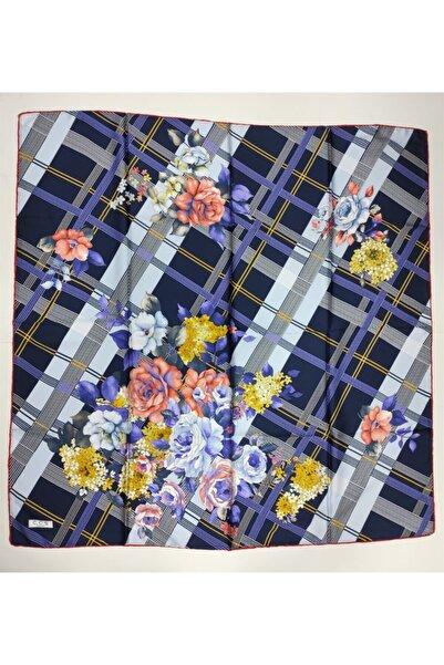 ÇÇS Kadın Sarar Kareli Çiçek Desenli Twill Eşarp